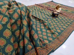 Emerald pigment print Cotton saree with blouse