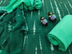 Green shibori print pure chiffon chunni cotton salwar kameez