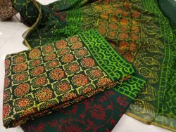Green zari border cotton suit Chiffon dupatta