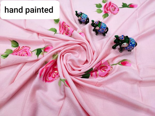 pink floral hand printed running fabric dress material set