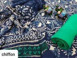 Indigo blue cotton suit with chiffon dupatta set