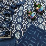 Superior quality Navy blue pure mulmul dupatta suit set