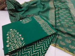 Jungle green mugal print zari border cotton suit pure chiffon dupatta