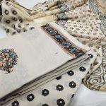 White mugal print zari border cotton chudidhar set