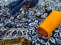 Blue pure chiffon chunni cotton salwar suit