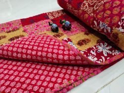 Pink Hand stitched AC Quilt Dohar Patch work