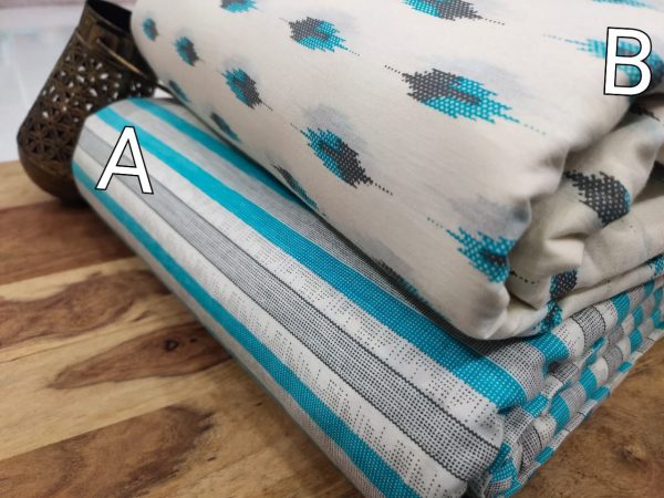 White and cyan pure cotton running material set