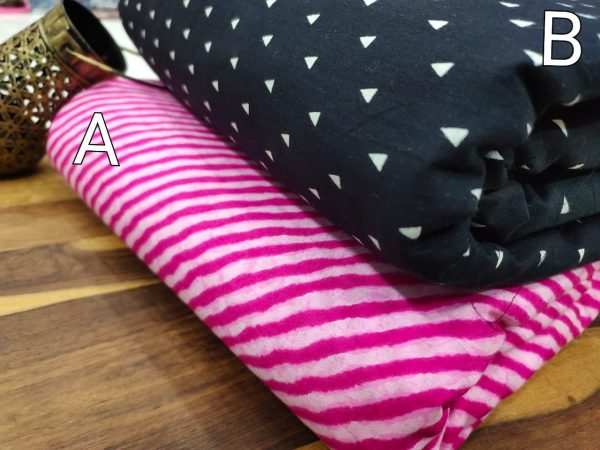 Pink and black pure cotton running material set