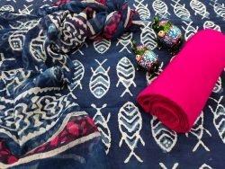 blue pure chiffon chunni cotton salwar kameez
