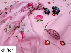 Pink floral print cotton suit set with chiffon chunni