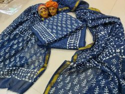 indigo blue zari border cotton suit pure chiffon dupatta