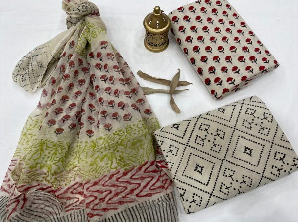 Beige cotton salwar kameez with chiffon dupatta