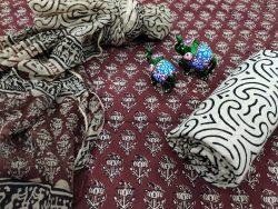 Burgundy chiffon chunni cotton salwar suit