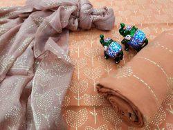 Apricot pure chiffon chunni cotton salwar suit