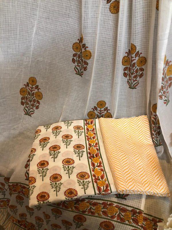 Jaipuri WHite floral print Cotton salwar suit with mulmul dupatta suit