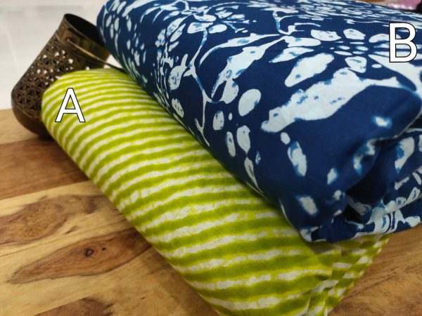 blue and green pure cotton running material set