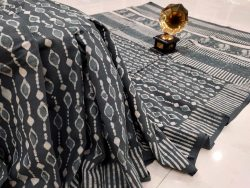 Slate gray cotton mulmul saree with blouse