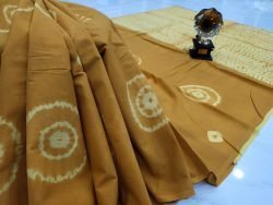 Bronze cotton mulmul saree with blouse
