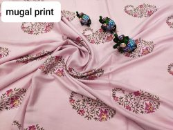 pink mugal print Rayon dress material set