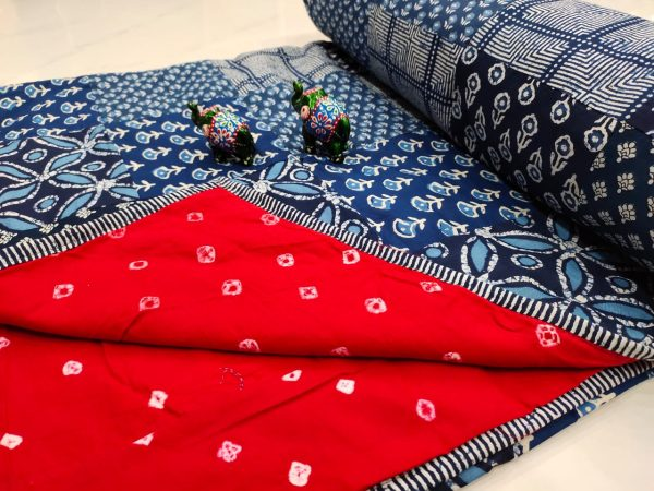 Red and blue Hand stitched AC Quilt Dohar Patch work