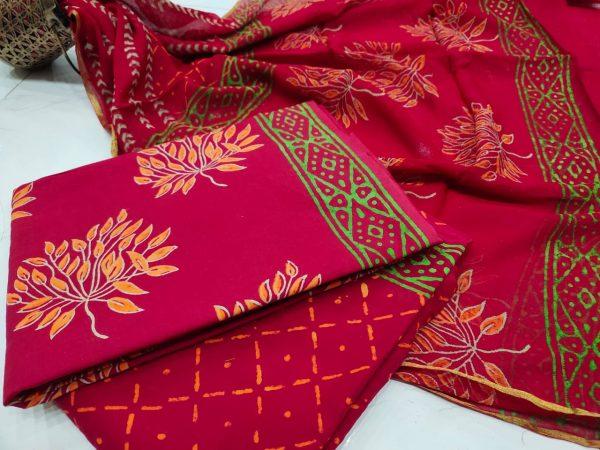 Crimson red zari border cotton suit pure chiffon dupatta