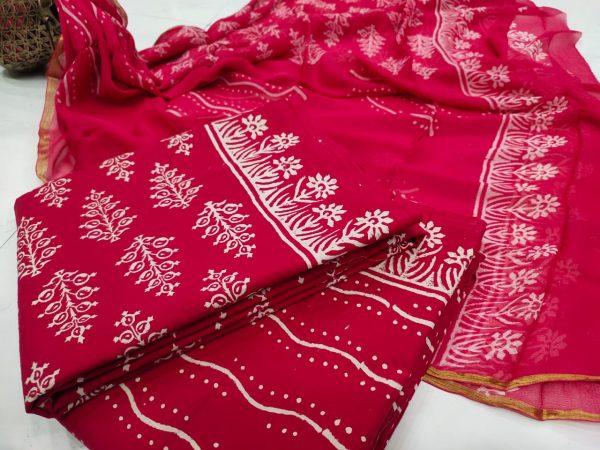 Superior quality Red crimson Zari border suit set