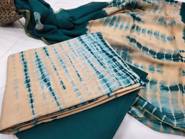 Teal Blue and off white zari border cotton suit Chiffon dupatta
