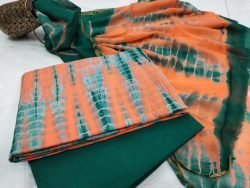 Medium Emerald and Orange zari border cotton suit Chiffon dupatta