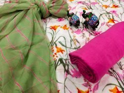 White and green floral print pure cotton chudidar set