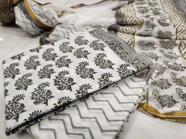 Traditional white pigment print zari border cotton chudidhar set