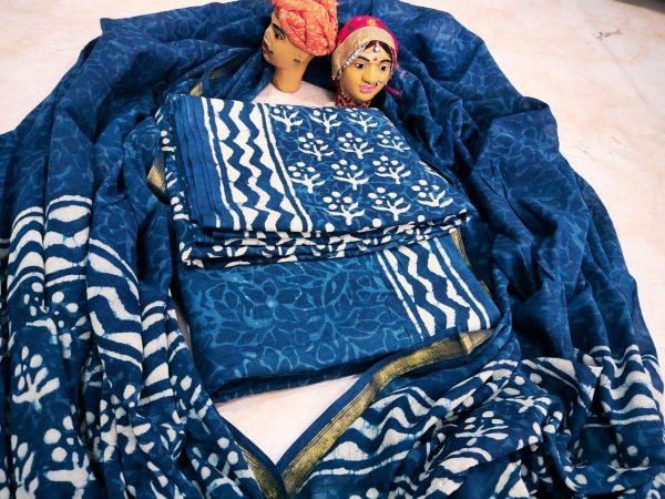 Natural Persian blue zari border mulmul dupatta suit set
