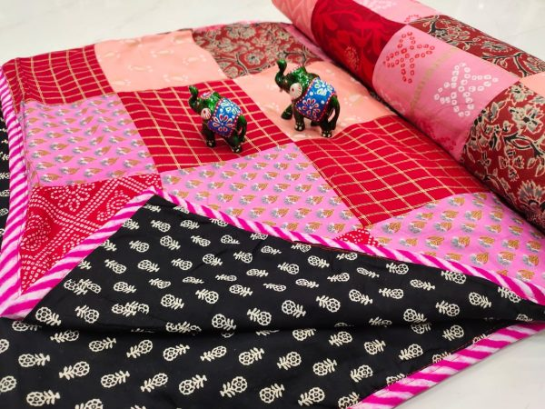 Black and pink Hand stitched AC Quilt (Dohar) Patch work