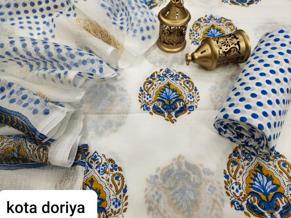 Beautiful White cotton salwar kameez suit with kota doria dupatta