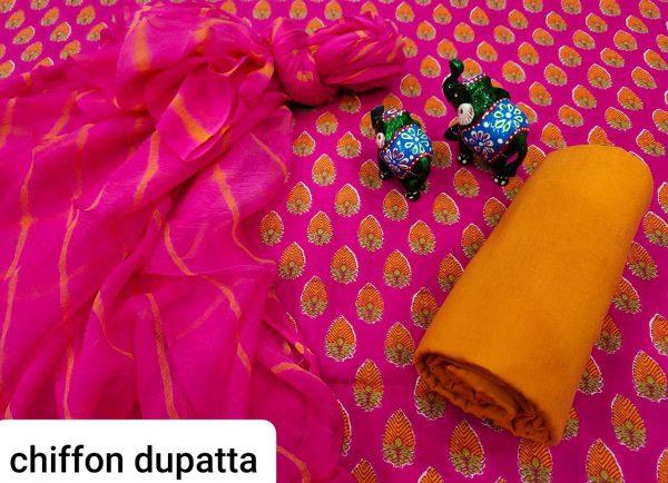 Magenta rose and amber cotton salwar kameez set with chiffon dupatta