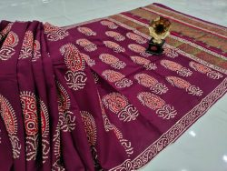 Rouge Cotton mulmul saree with blouse