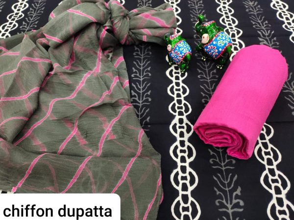 Exclusive Black And pink pure chiffon chunni cotton salwar suit