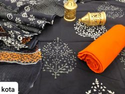 Traditional black and orange cotton salwar suit with kota doria dupatta set