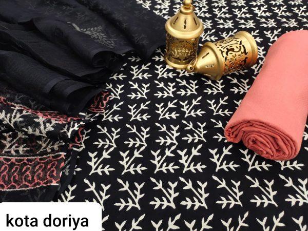Traditional black cotton salwar suit with kota doria dupatta set