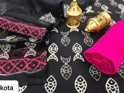 black and pink cotton suit kota doria dupatta set