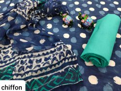 Blue pure cotton salwar kameez set with chiffon dupatta set
