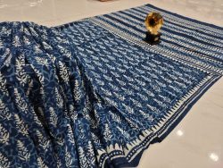 Indigo blue Cotton mulmul saree with blouse
