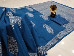 Persian blue Cotton mulmul saree with blouse