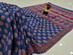 Navy blue Cotton mulmul saree with blouse