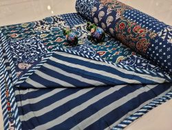 Blue Hand stitched AC Quilt Dohar Patch work