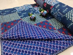 Blue pure cotton Hand stitched AC Quilt Dohar Patch work