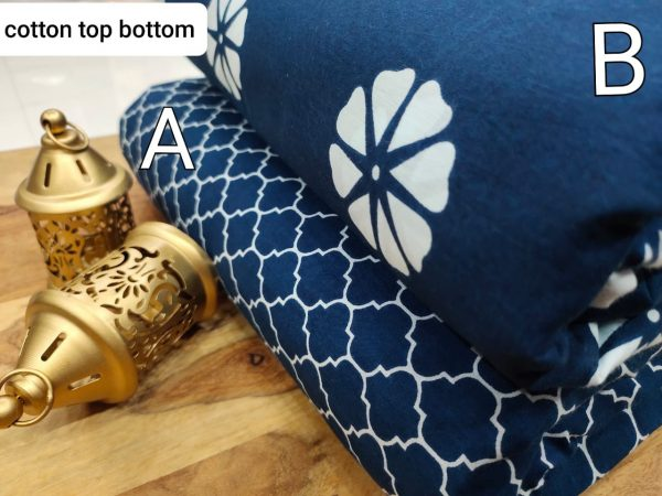 Prussian blue pure cotton running material set
