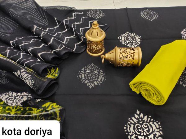 Black mugal print cotton salwar suit with kota doria dupatta set