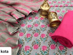 Gray and pink cotton suit kota doria dupatta set