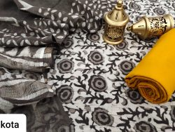 Taupe and amber cotton suit with kota doria dupatta set