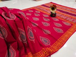 Superior quality red crimson pure cotton saree with blouse